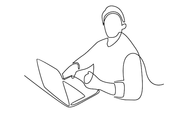 Línea continua del hombre que trabaja con la ilustración de la computadora portátil