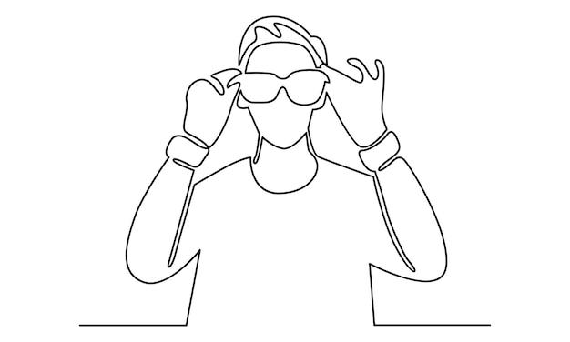 Línea continua de hombre usa ilustración de gafas de sol