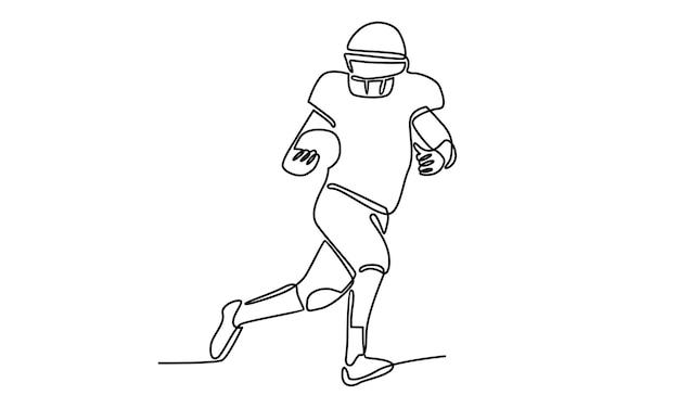 Línea continua de ilustración de jugador de fútbol americano