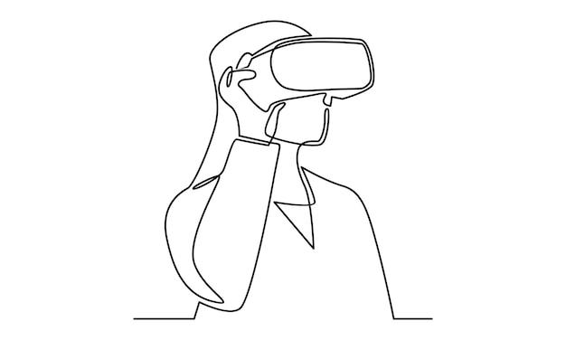 Línea continua de mujer con ilustración de gafas de realidad virtual
