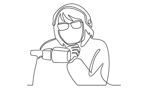 Línea continua de mujer locutor de radio ilustración