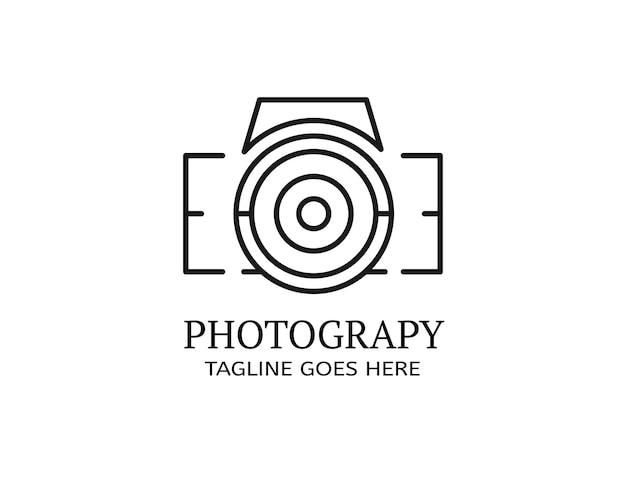 Línea de contorno que forma una silueta en forma de cámara digital para fotografía de logotipos