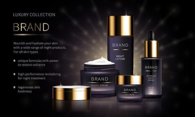 Línea cosmética nocturna para el cuidado facial de la piel.