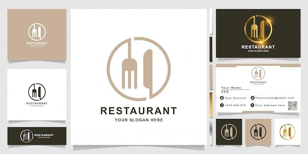 Línea de cuchillo y tenedor o plantilla de logotipo de restaurante con diseño de tarjeta de visita