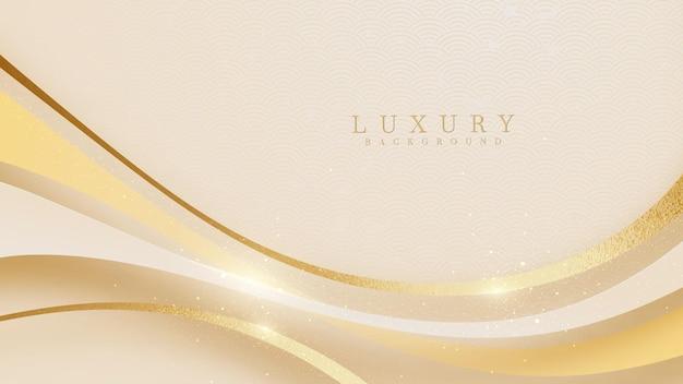 Línea curva dorada sobre fondo de sombra crema. concepto realista de lujo. estilo de corte de papel 3d.