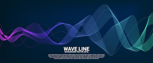 Línea curva de la onda de sonido azul y verde sobre fondo oscuro.