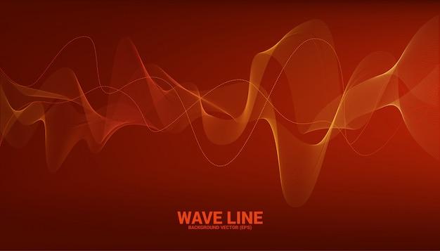 Línea curva de la onda de sonido naranja sobre fondo rojo. elemento para vector futurista de tecnología de tema