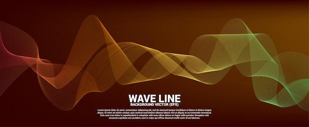 Línea curva de la onda de sonido roja y naranja sobre fondo rojo. elemento para vector futurista tecnología de tema