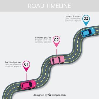 Línea de tiempo infográfica con concepto de carretera