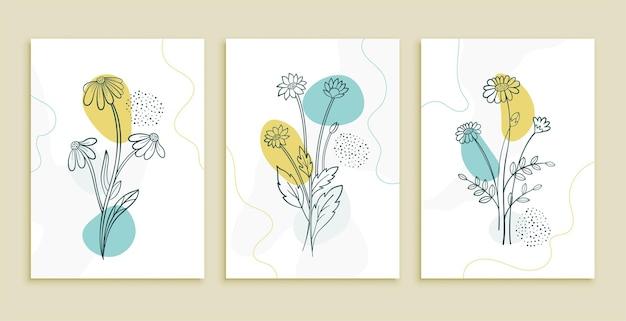 Línea decorativa conjunto de carteles de arte de flores y hojas