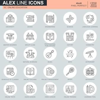Línea delgada educación en línea, e-learning, conjunto de iconos de libros electrónicos