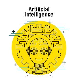 La línea delgada del engranaje del robot de la inteligencia artificial