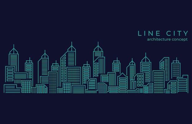 Línea delgada paisaje de la ciudad
