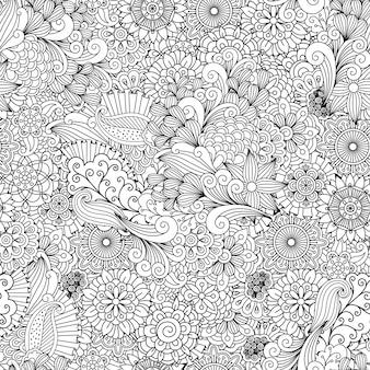 Linea detallada de fondo ornamental con flores.