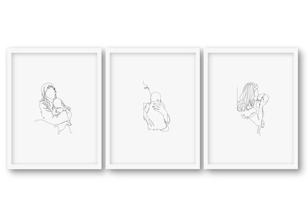 Una línea, día de la madre, baby shower, conjunto, cartel colección de ilustraciones