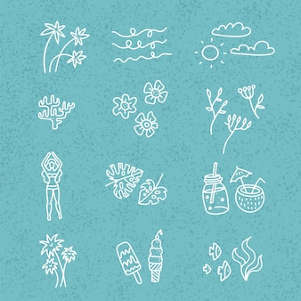 Línea dibujada a mano doodle conjunto de dibujos animados de objetos y símbolos de la temporada de verano en el fondo con textura blie. colección de arte lineal: cócteles, flores, hojas de palma, helado.