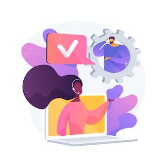 Línea directa del centro de llamadas, atención al cliente. línea de ayuda online, resolución de problemas, asistencia remota. personaje de dibujos animados de servicio telefónico, cliente y asistente. ilustración de metáfora de concepto aislado de vector.