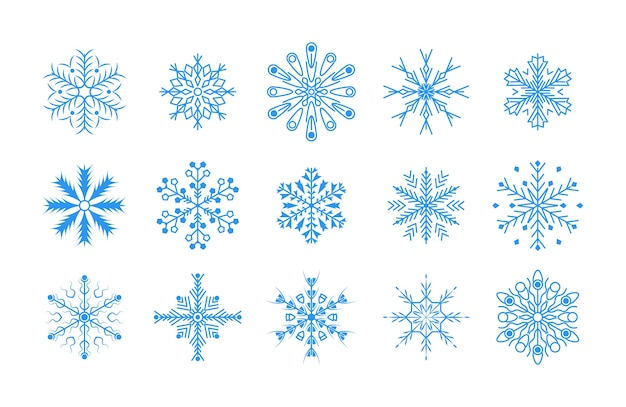 Línea de diseño plano copos de nieve conjunto de elementos de decoración de navidad y año nuevo. elemento de cristal de copos de nieve azul de invierno.