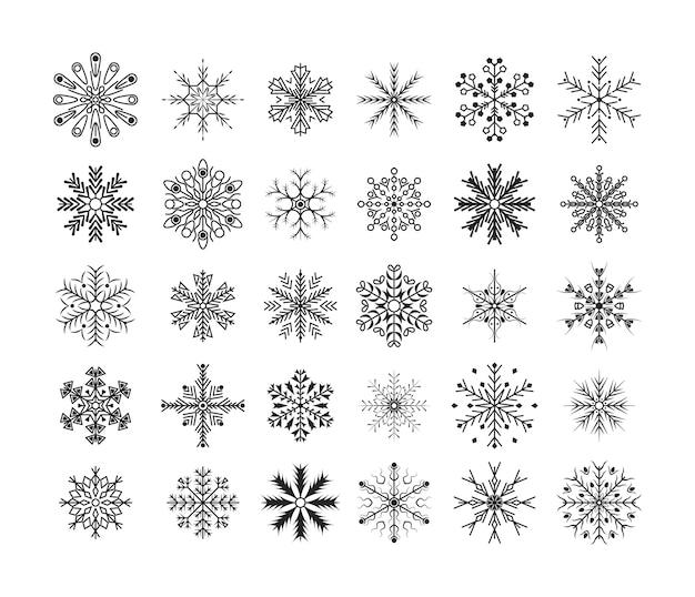 Línea de diseño plano copos de nieve negros conjunto de elementos de decoración de navidad y año nuevo. bonito elemento para banner de navidad, postales. elemento de cristal de copos de nieve de invierno.