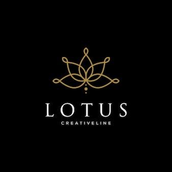 Línea de diseños de logotipos de lotus. logotipo de la marca de cosméticos de salón de belleza spa estilo lineal