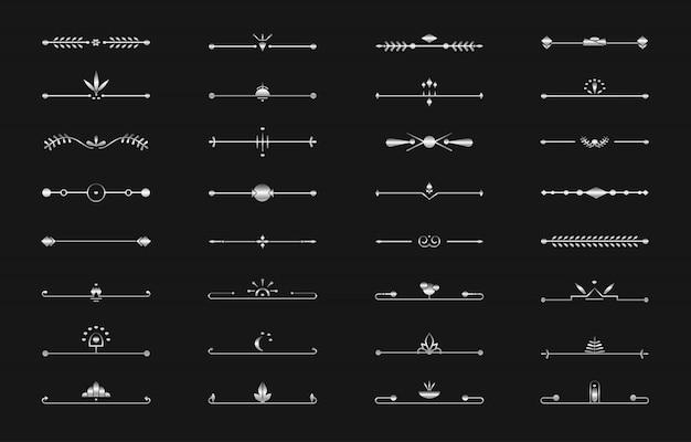 Línea divisoria de plata establece texto de página de art deco vector