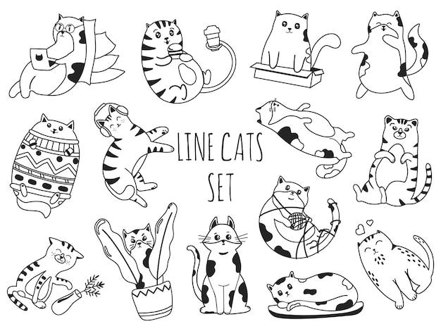 Línea doodle gatos lindos gatitos trabajan en la computadora portátil, comen hamburguesas, juegan con una bola de hilo y escuchan música