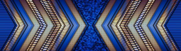 Línea dorada de lujo abstracto con fondo de decoración de plantilla azul claro