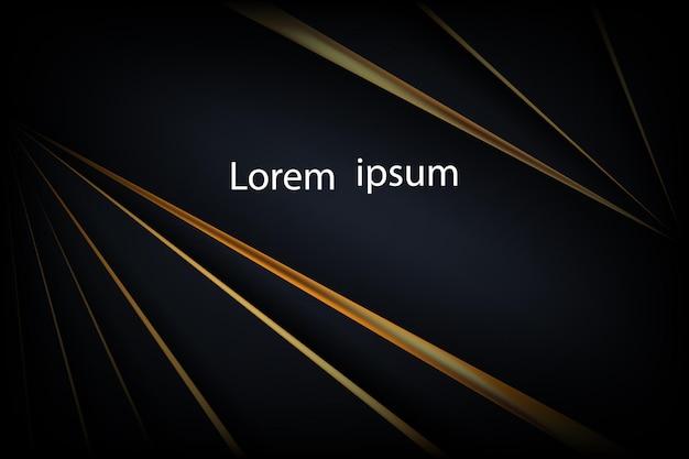 Línea dorada de lujo sobre fondo de telón de fondo abstracto negro oscuro