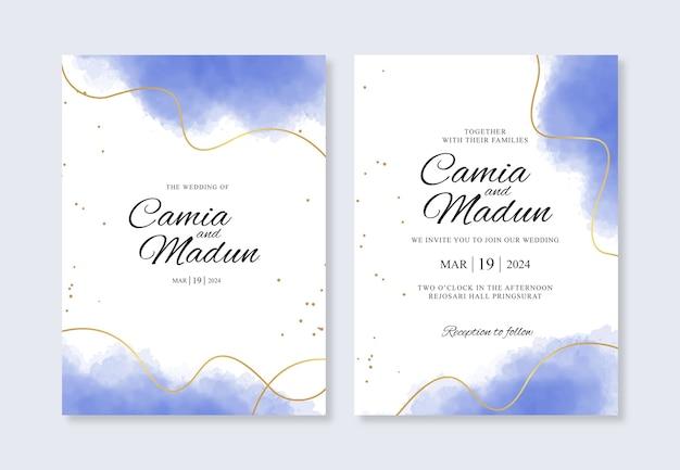Línea dorada y salpicaduras de acuarela para plantilla de invitación de boda