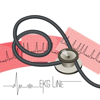 Línea de ekg en hoja de papel larga y estetoscopio médico.