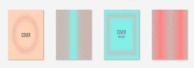 Línea de elementos geométricos. aplicación web coloreada, pantalla móvil, presentación, maqueta de informe anual. rosa y turquesa. línea de elementos geométricos en la plantilla de portada de moda minimalista.