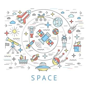 Línea espacial composición redonda