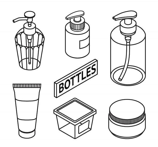 Línea estilo set de cosméticos para el cuidado de la piel.
