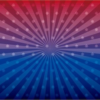 Línea y estrellas azules y rojas
