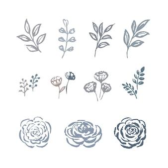 Línea flor acuarela flor, bocetos de follaje con planta floral, conjunto de ilustración de botánico.
