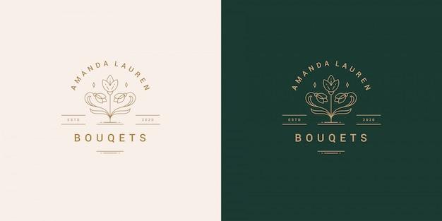 Línea de flores y rama con hojas vector logo emblema diseño plantilla ilustración estilo lineal simple