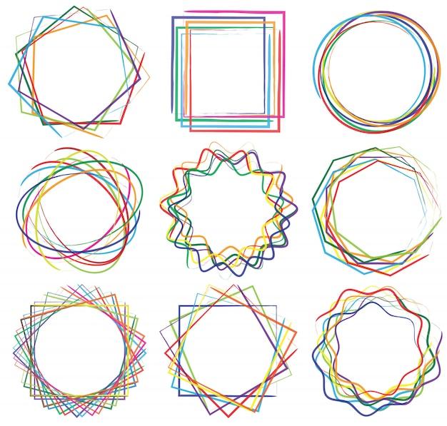 Línea forma de conjunto de marco de arte