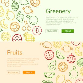 Línea frutas iconos web banner plantillas ilustración