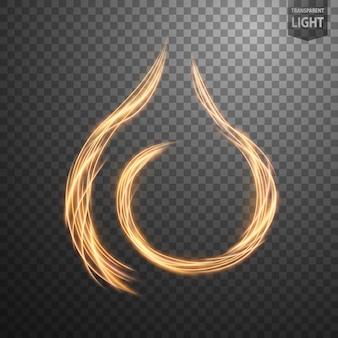 Línea de fuego de oro abstracta de luz