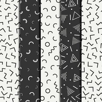 La línea geométrica de memphis retro forma patrones de patrones sin fisuras.