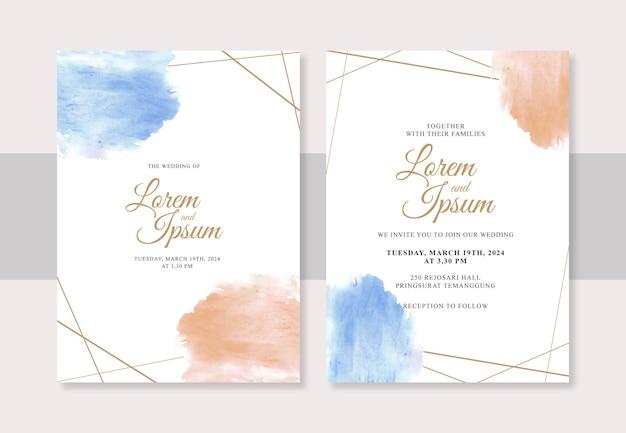 Línea geométrica y salpicaduras de acuarela para plantilla de invitación de boda