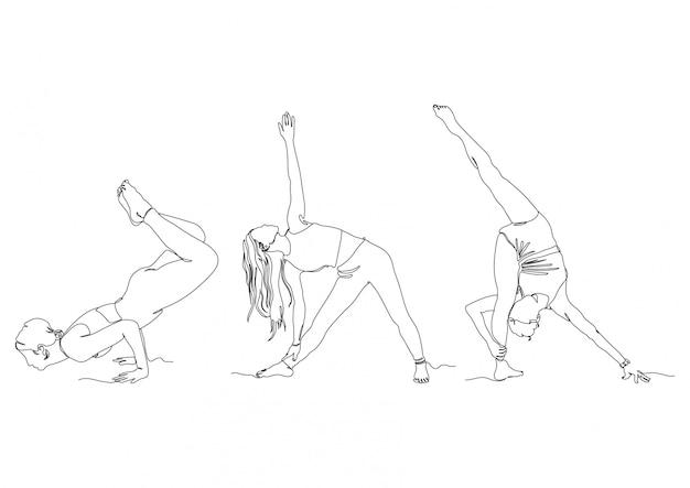 Una línea gym yoga pose establece logos stock ilustración vectorial