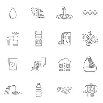 Línea de iconos de agua
