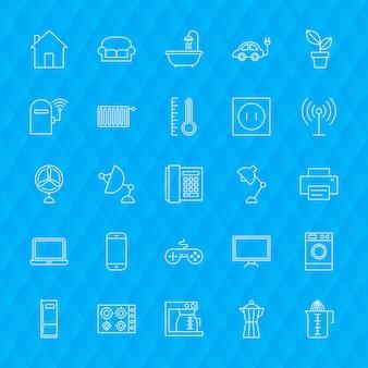 Línea de iconos domésticos. ilustración de vector de símbolos de electrodomésticos de contorno sobre fondo poligonal.