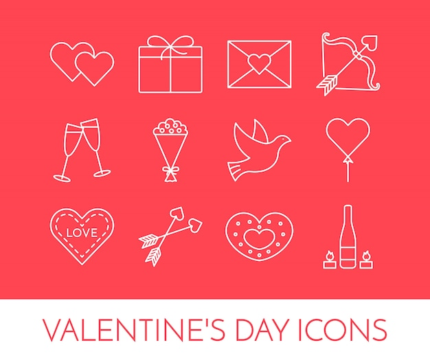Línea de iconos finos para el día de san valentín y fecha tema.