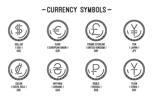 Línea de iconos de monedas con símbolos de moneda de diferentes países. en blanco y negro