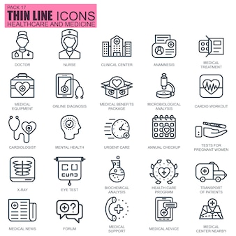 Línea de iconos de salud y medicina