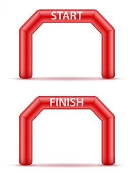 Línea inflable inicio final para deporte.