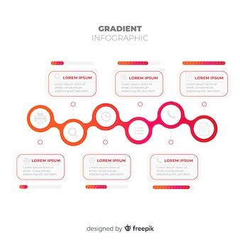 Línea infografía degradada diseño plano colorido