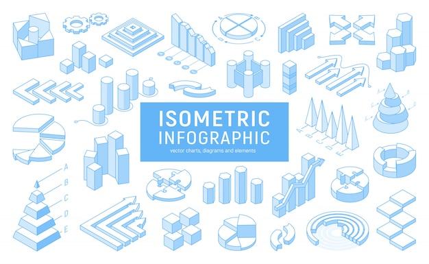 Línea isométrica infografía